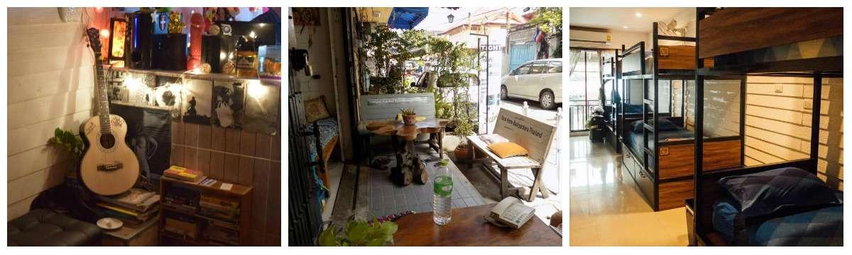 Collage Back Home Backpackers Hostel vlakbij Khao San Road in Bangkok, Thailand