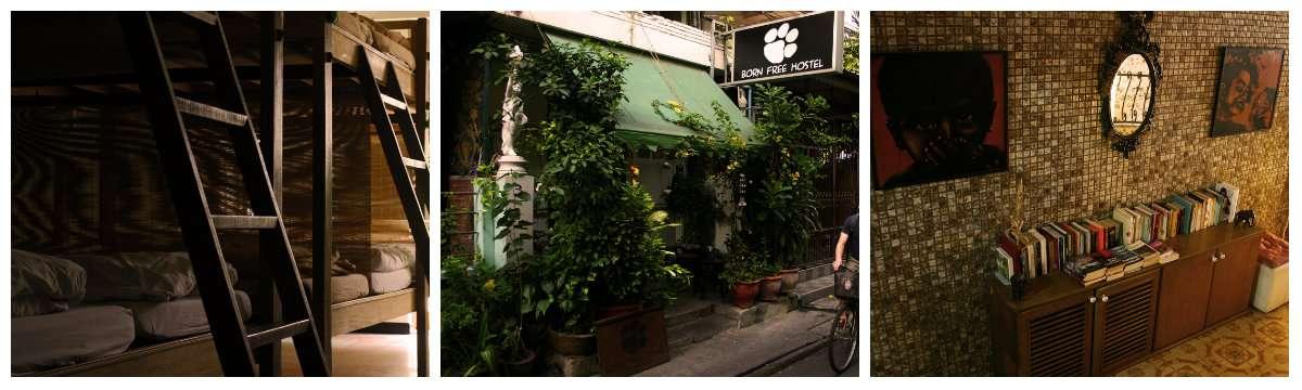 Collage Born Free Hostel vlakbij Khao San Road in Bangkok, Thailand