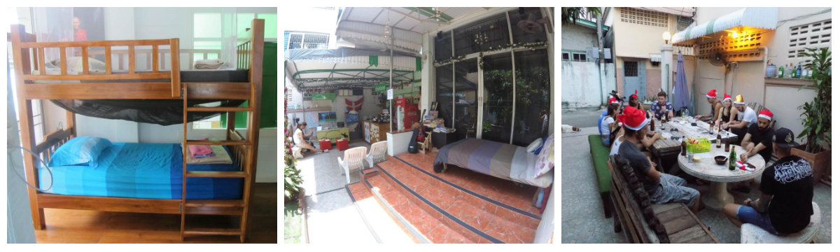 Collage The Oasis Hostel vlakbjij Khao San Road in Bangkok, Thailand