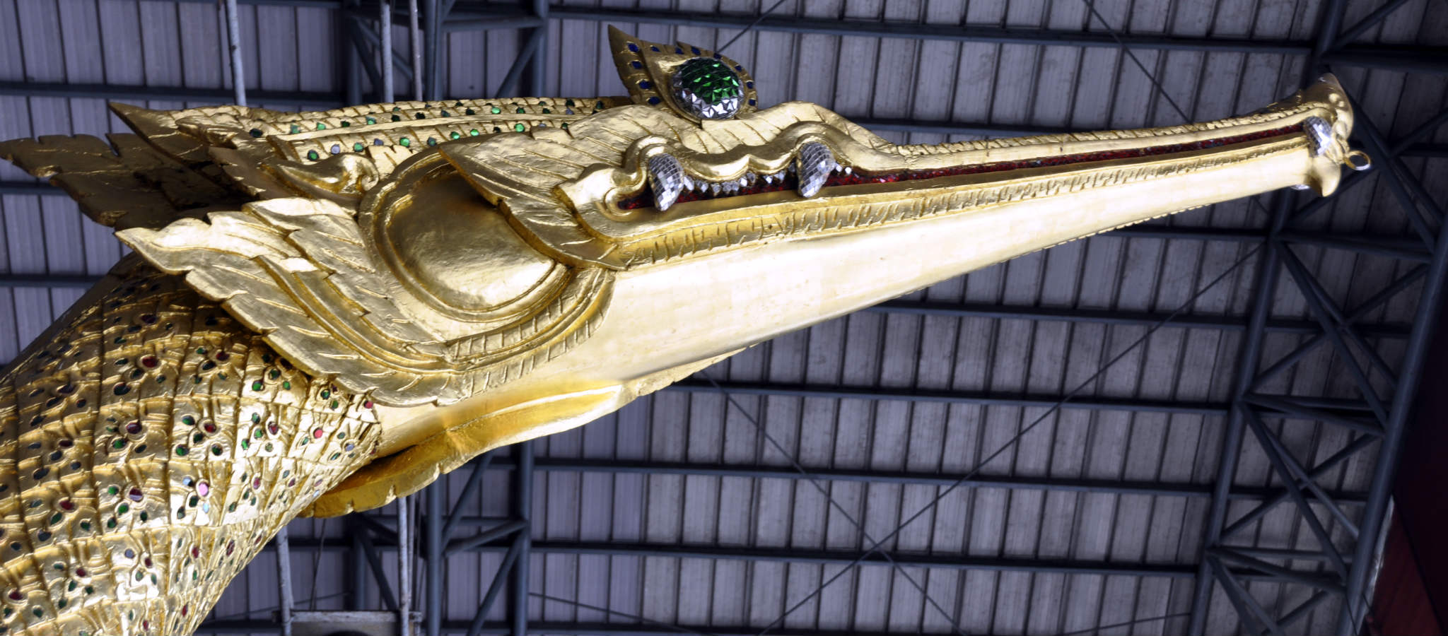 The swan head of the figurehead of the Suphannahong Royal barge in the National Museum of Royal Barges in Bangkok.