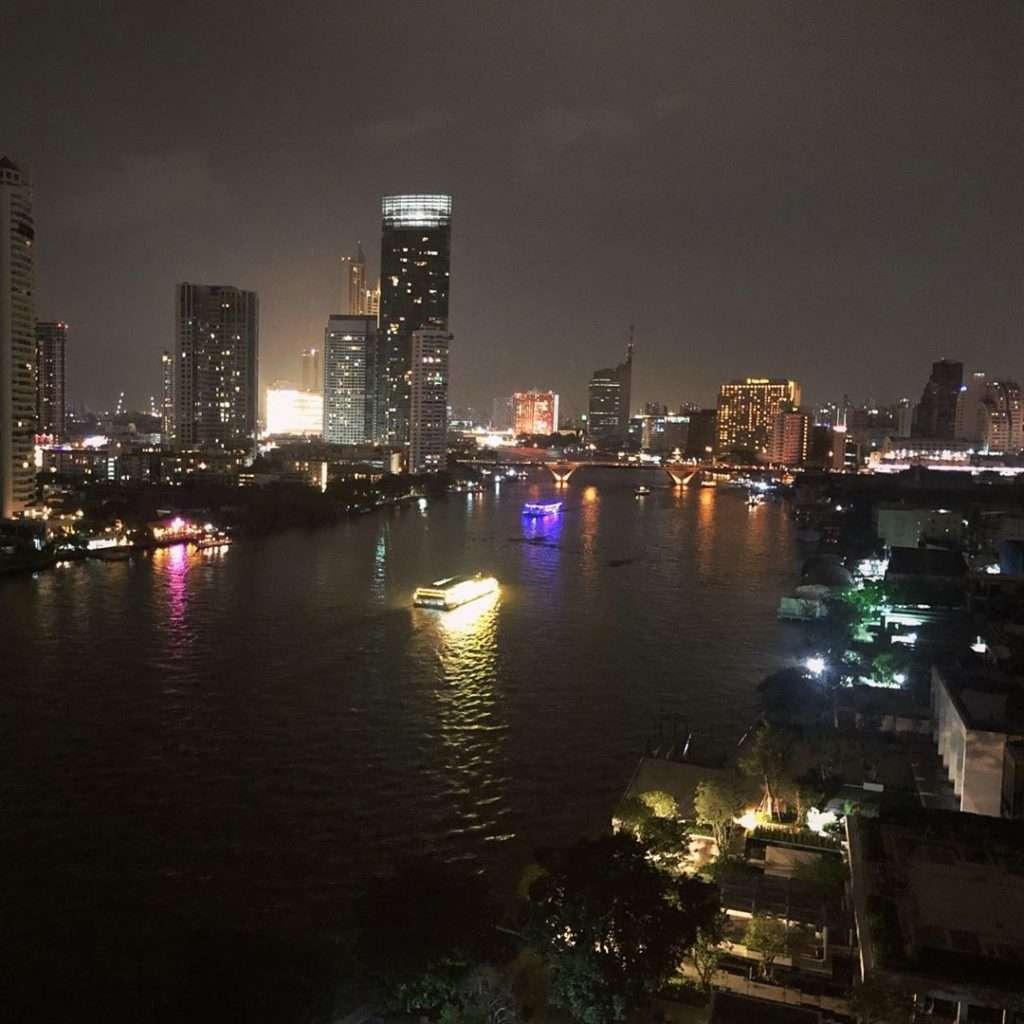 Evening views of the Chao Phraya River from the Chatrium Hotel Riverside Bangkok