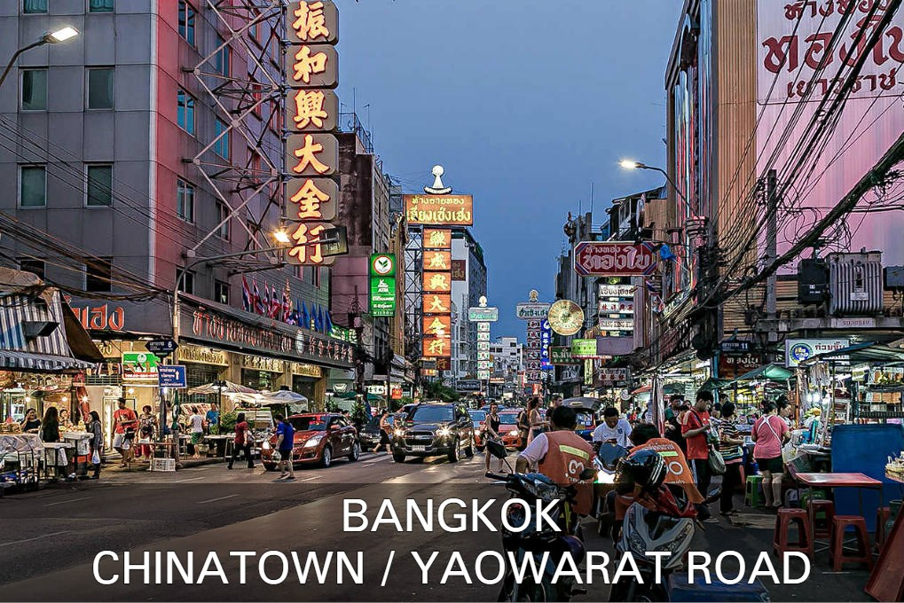 Photo with link to Chinatown Yaowarat Road, one of Bangkok's popular neighborhoods in Thailand.