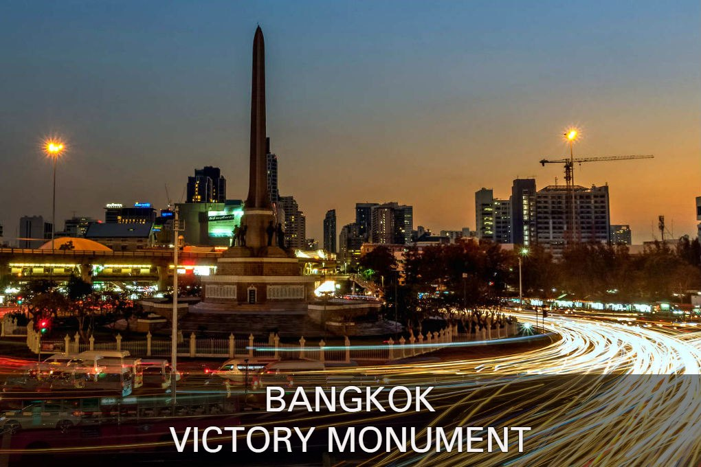 Photo with link to the Victory Monument, one of Bangkok's popular neighborhoods.