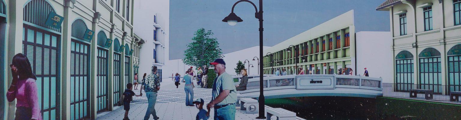 Voorbeeld van nieuwbouwplannen, witte huizen aan een nieuw uitziende straat in Chinatown