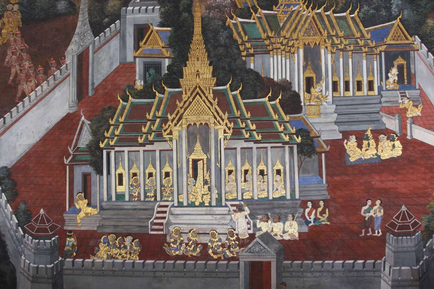 Mural of the Grand Palace in Bangkok, Thailandnd