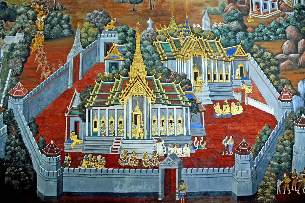 Prachtige muurschildering in de Grand Palace, Bangkok