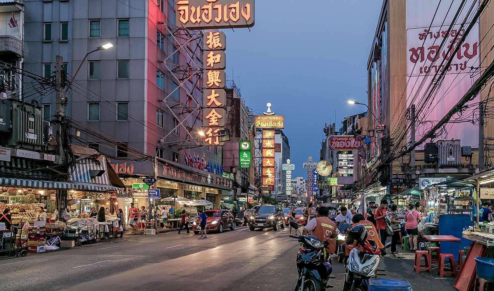 Chinatown, Yaowarat Road night market in Bangkok.