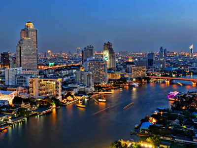 Chao Phraya River Of Bangkok In The Evening.