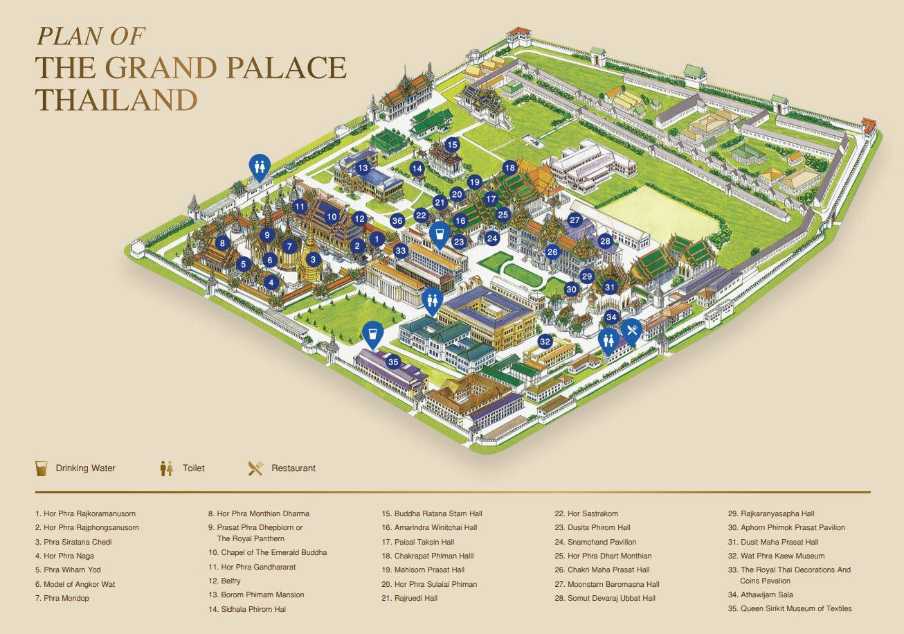 De map van de Grand Palace in Bangkok, Thailand