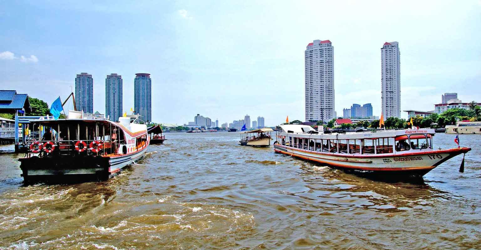 Boats on the Chao Phraya River of Bangkok