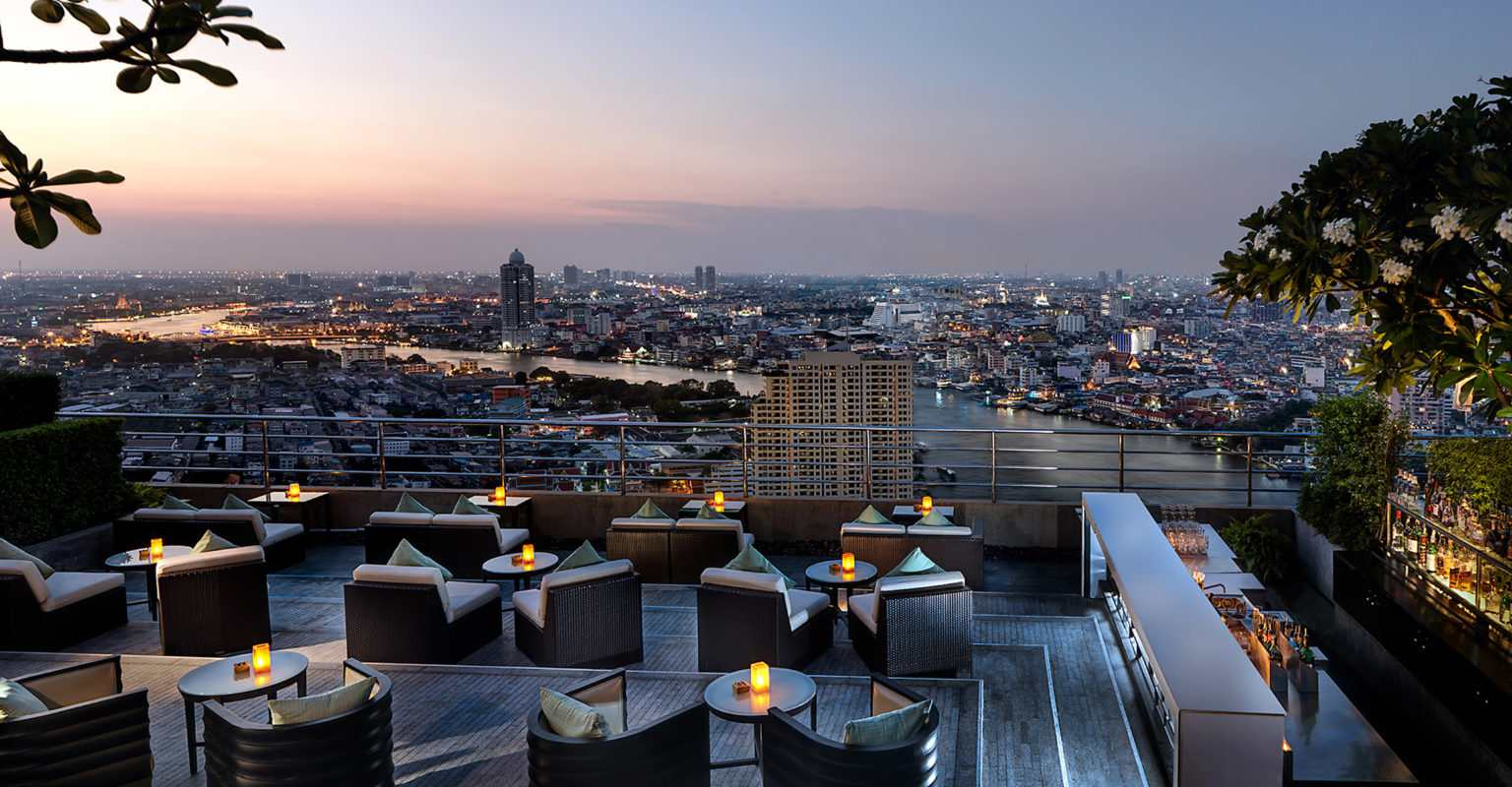 Three Sixty Lounge of the Millennium Hilton Bangkok overlooking the Bangkok River