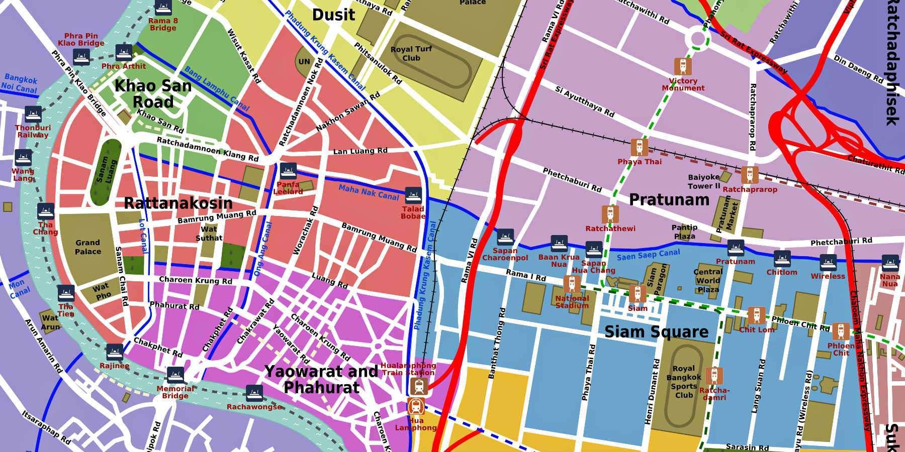 Kaart met populaire buurten van Bangkok in Thailand