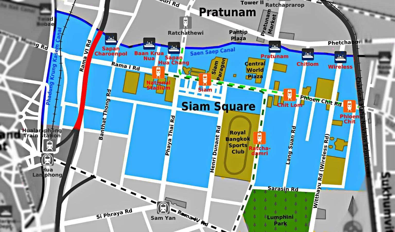 Kaart van Siam Square, centrum van Bangkok,Thailand