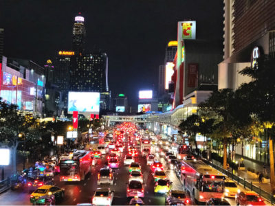 Siam Square In Bangkok, Busy Highway In The Center Of Bangkok In Thailand