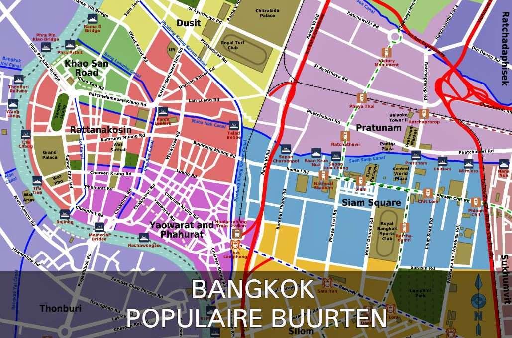 Kaart Met Link Naar Populaire Buurten In Bangkok