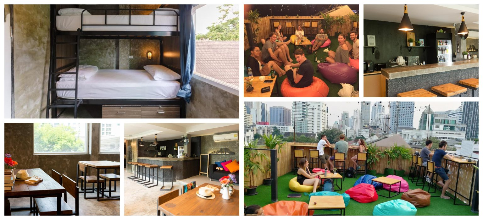 Collage van het Revolution Asoke Hostel, waar je kunt slapen in Asok. Een populaire buurt in Bangkok, Thailand.