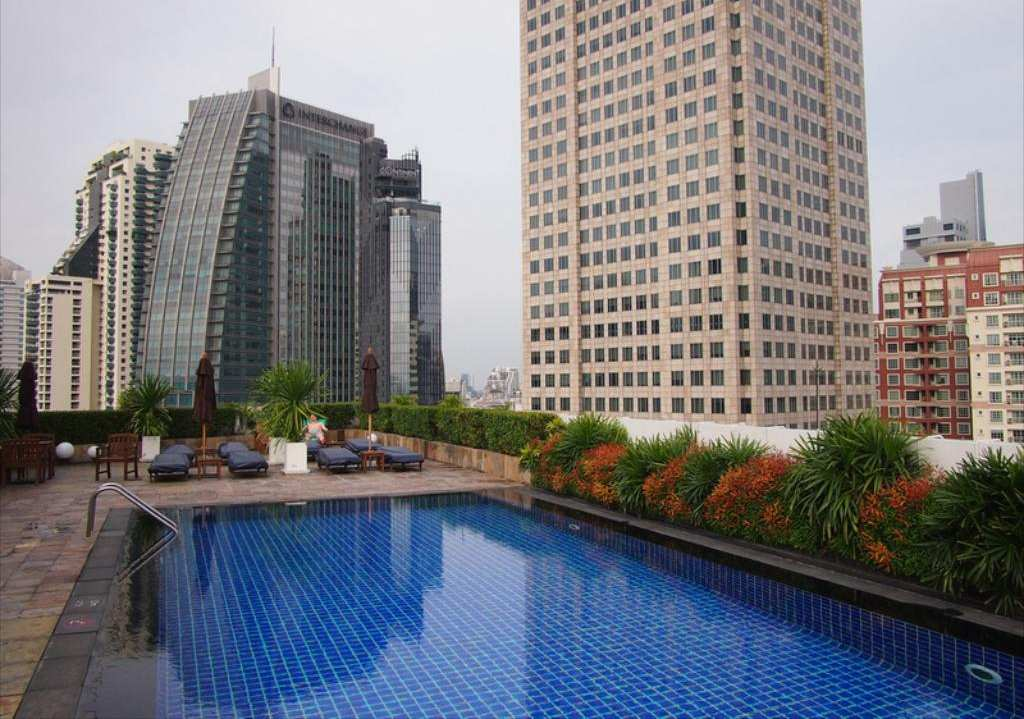 The swimming pool of the Park Plaza Sukhumvit in the Asok area of Bangkok