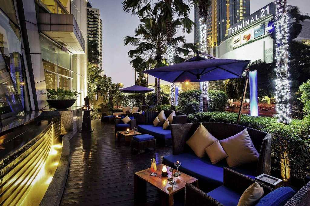 The lounge and bar area of the Pullman Bangkok Grande Sukhumvit Grande in the Asok area of Bangkok.