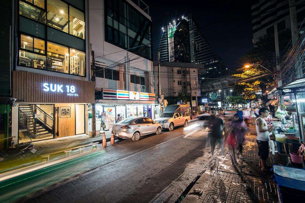 The street where Suk18 Hostel is located in Bangkok