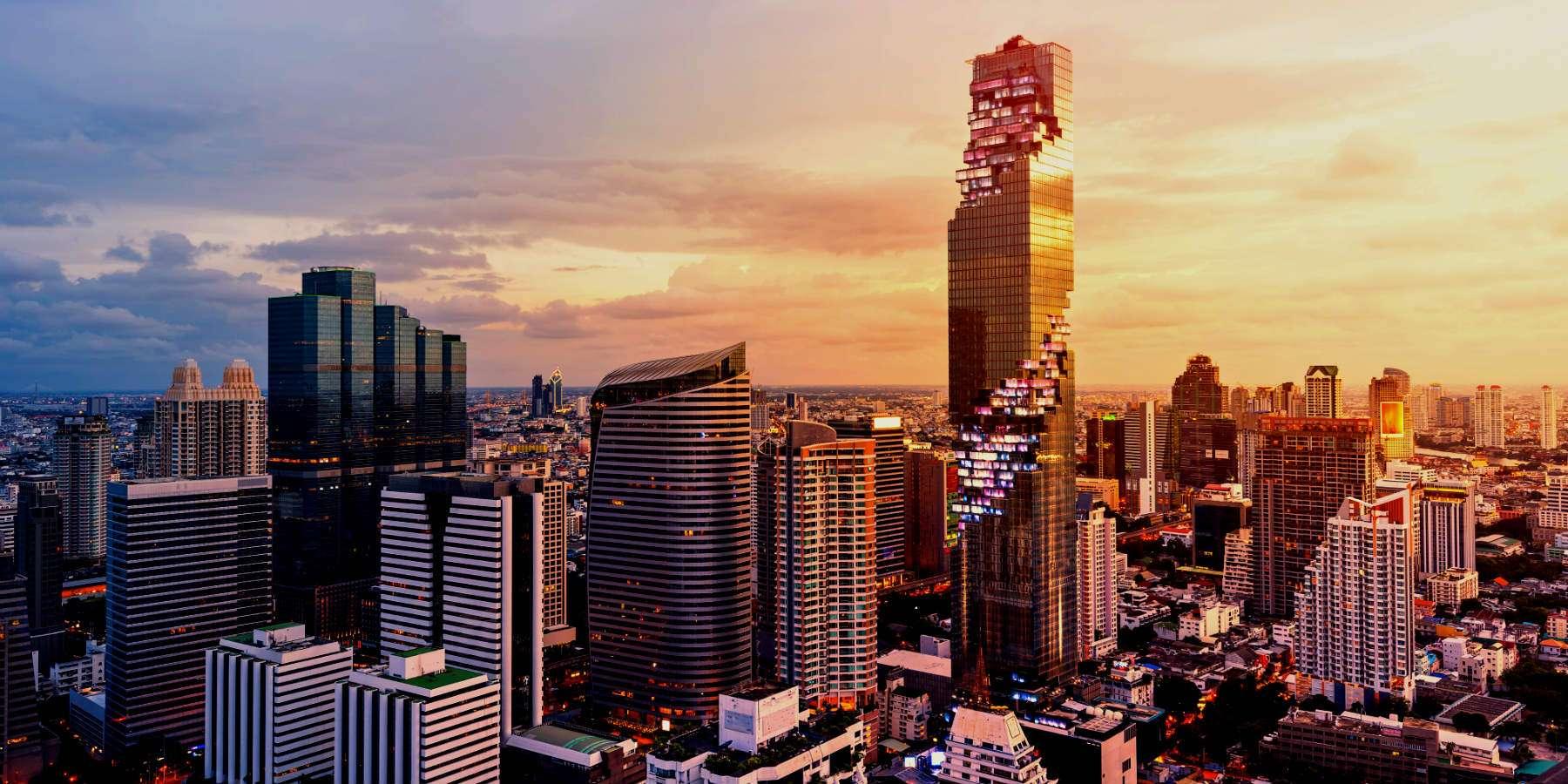 Exterior King Power Mahanakhon from far away, the pixel tower in Bangkok