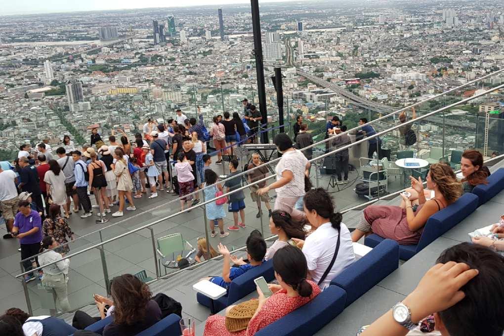 Uitzicht vanaf de het King Power Mahanakhon gebouw in Bangkok, Thailand