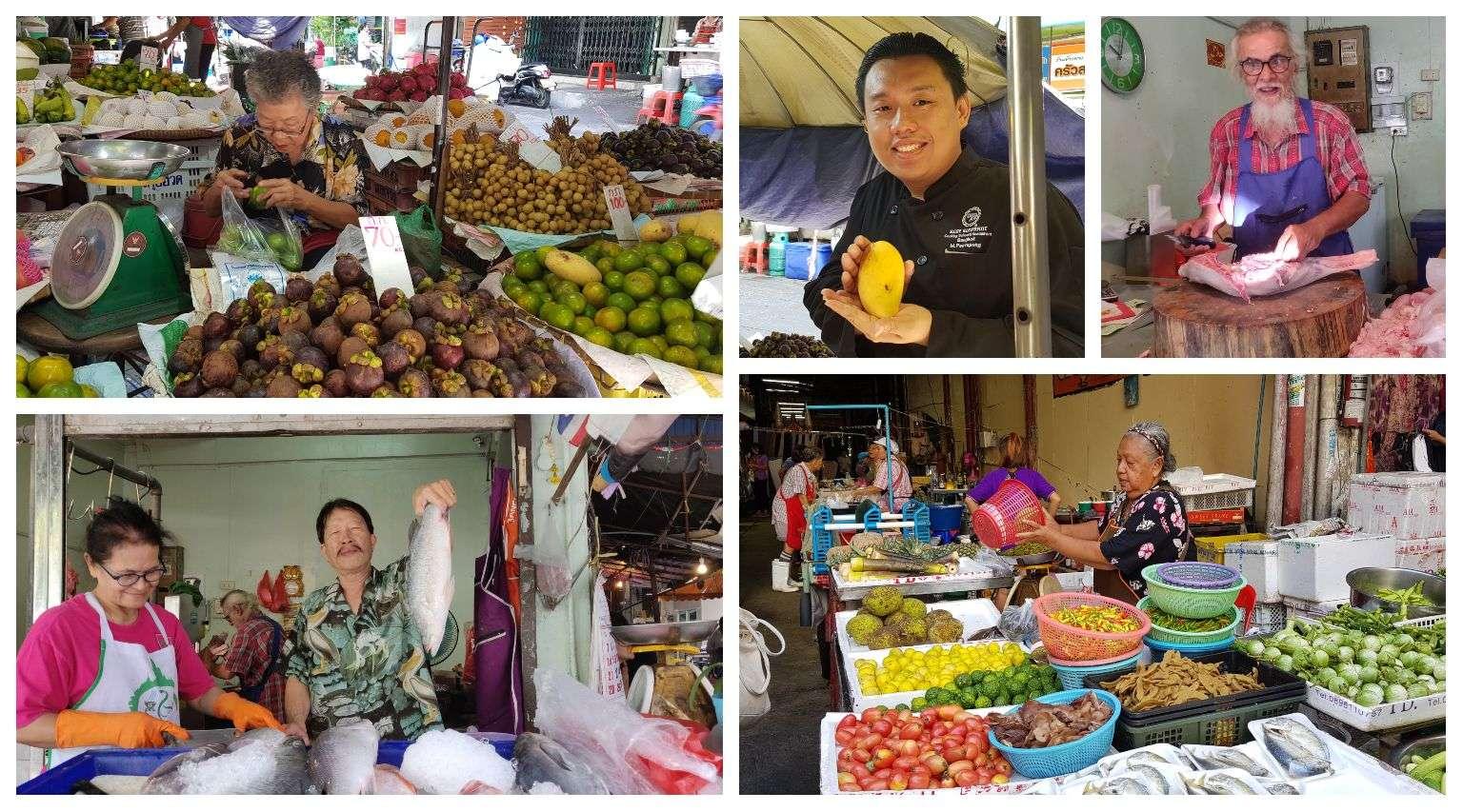 ingredienten kopen voor de kooklessen op Bang Rak Market in Bangkok