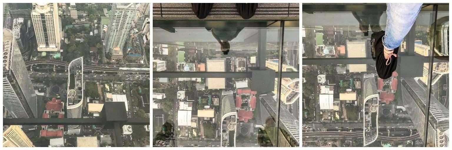 Eerste stap op glazen platform van Mahanakhon SkyWalk Bangkok