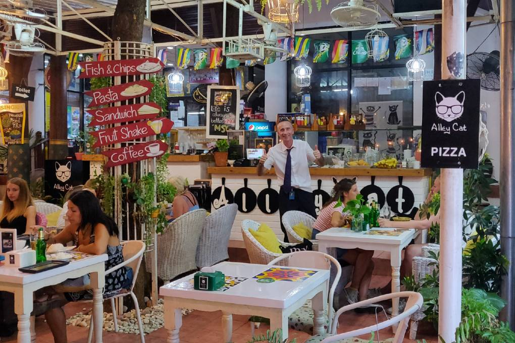 The owner of Alley Cat Restaurant in Bar on Rambuttri Alley in Bangkok