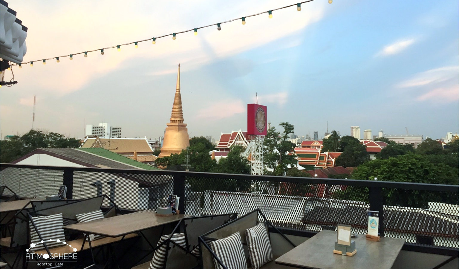 View of the Wat Bowonniwet from At-Mosphere Rooftop Cafe in Bangkok, Thailand