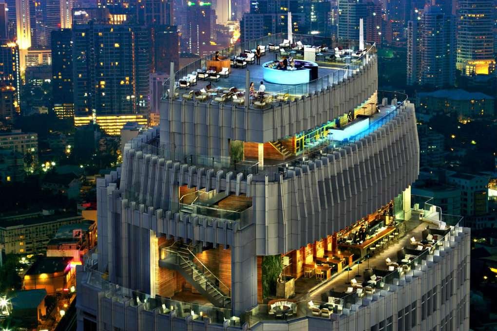 Luchtfoto van de drie verdiepingen van de Octave Rooftop Bar