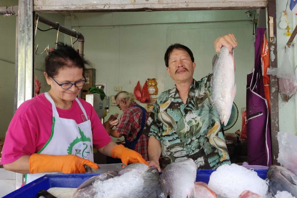 Fresh fish at the Bang Rak Market in Bangkok