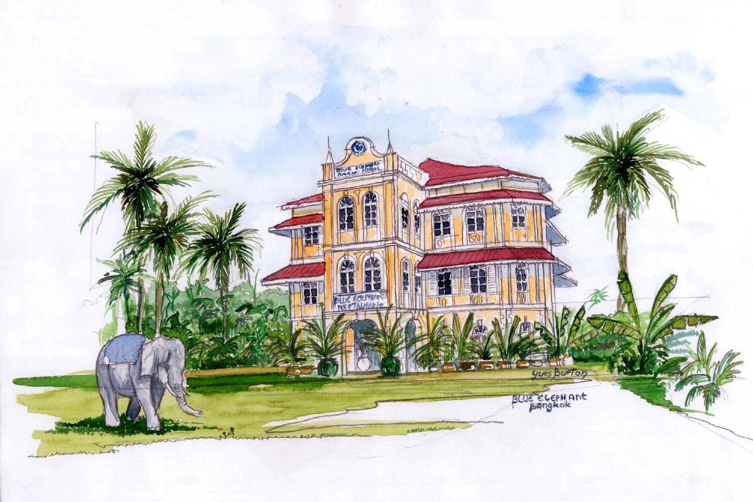 Drawing of Blue Elephant Restaurant & Cooking School in Bangkok, Thailand