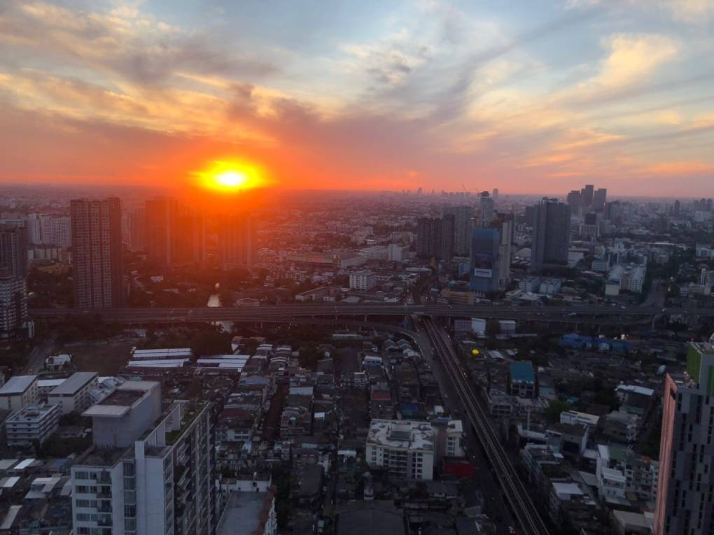 View over the sky line of Bangkok from Cielo Sky Bar & Restaurant at sunset
