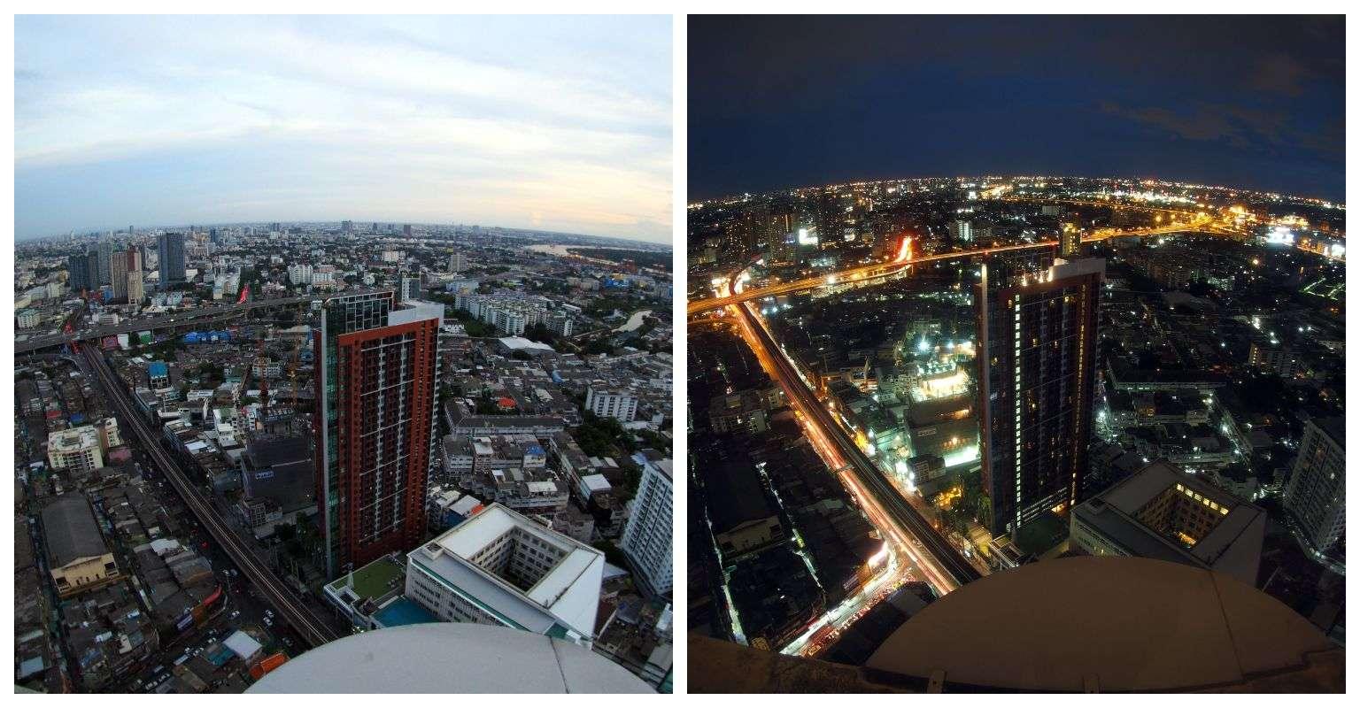 Dag en nacht uitzicht bij Cielo Sky Bar & Restaurant in Bangkok, Thailand