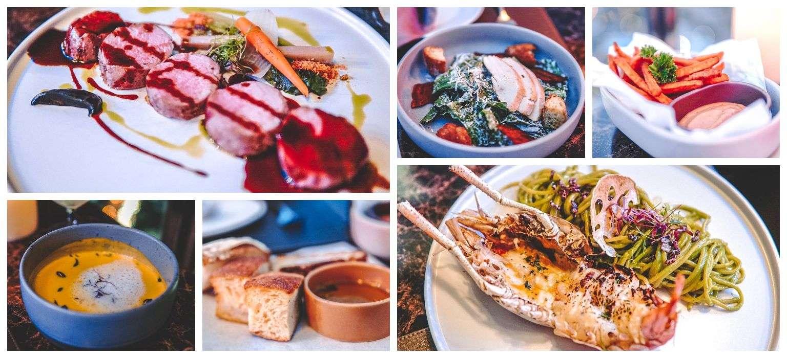 Een aantal gerechten bij Cielo Sky Bar & Restaurant in Bangkok, Thailand