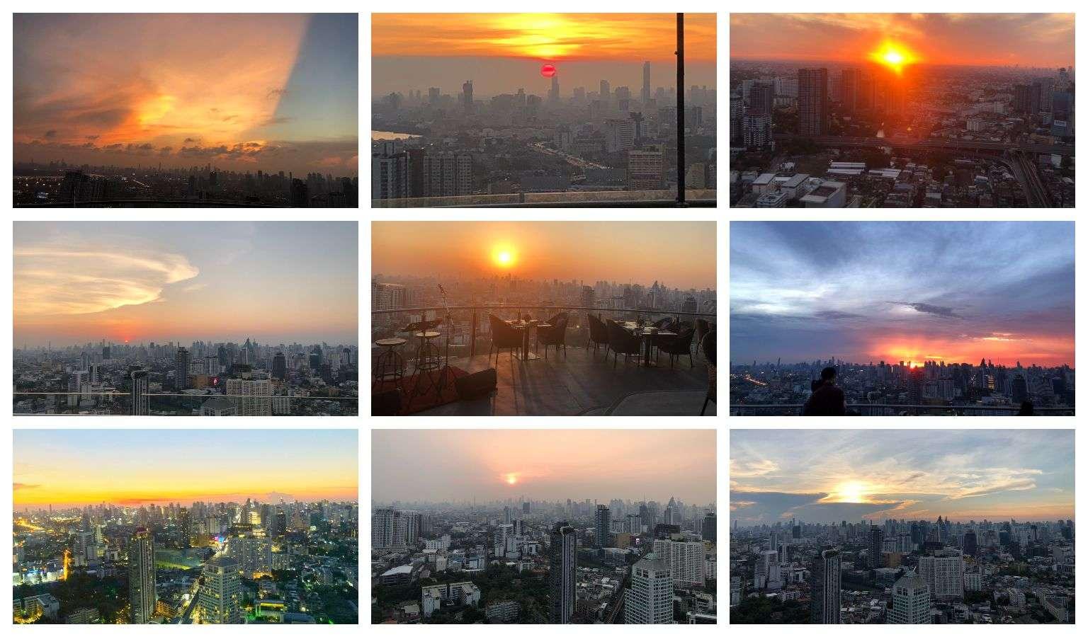 Collage van zonsondergang foto's vanaf Cielo Sky Bar & Restaurant in Bangkok, Thailand