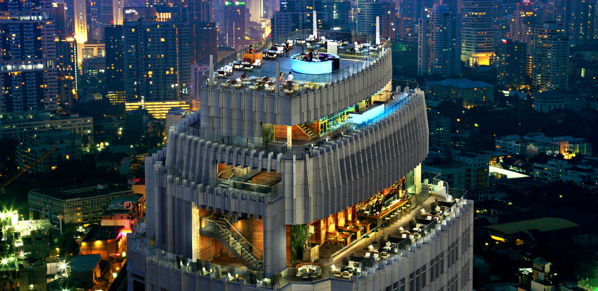 aerial photo of rooftop bar Octave and Marriott Hotel Bangkok