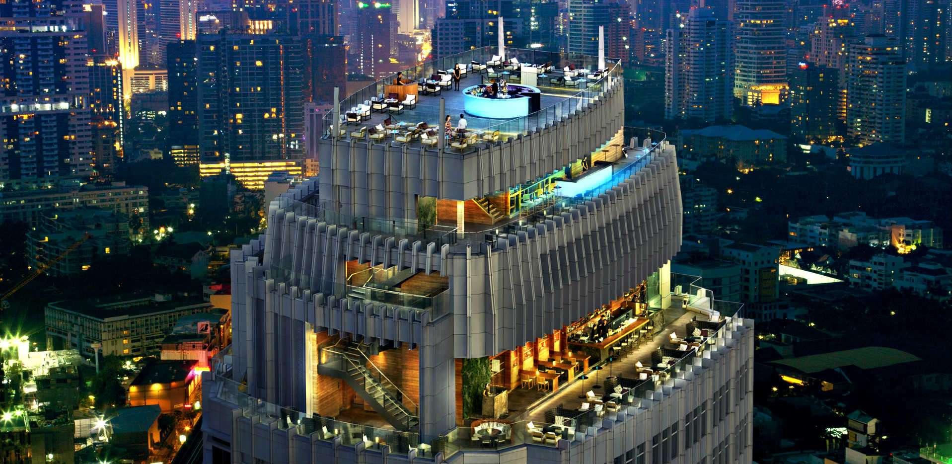 foto vanuit de lucht van rooftop bar Octave en Marriott Hotel Bangkok