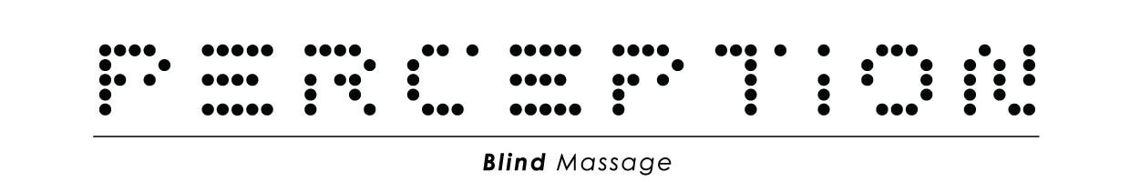 logo Perception Blind Massage weergegeven in puntjes.
