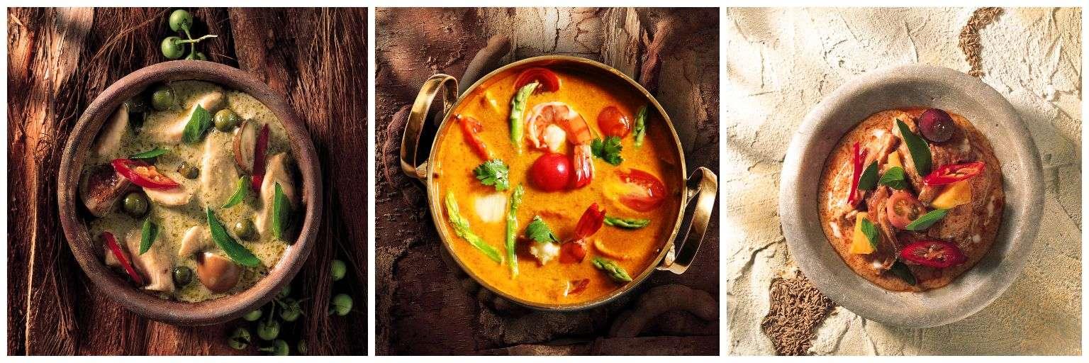 Groene, gele en rode Thaise curry van het merk Blue Elephant, gerechten die je maakt tijdens de kooklessen