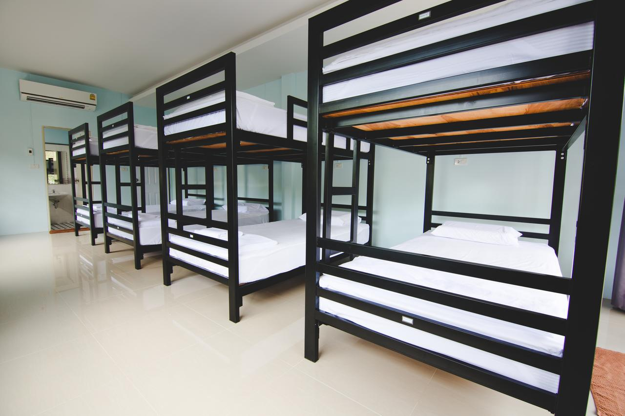 The dormitory containing bunk beds in the Khao Sok Secret Hostel - one of the best hostels in Khao Sok, Thailand.