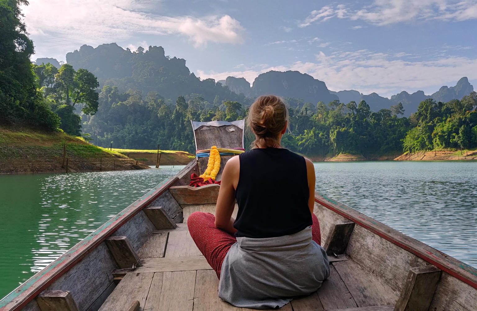 Safari on Cheow Lan Lake with a longtail boat