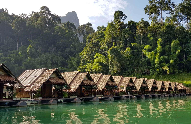 Cheow Lan Lake, floating raft houses on Lake Khao Sok National Park