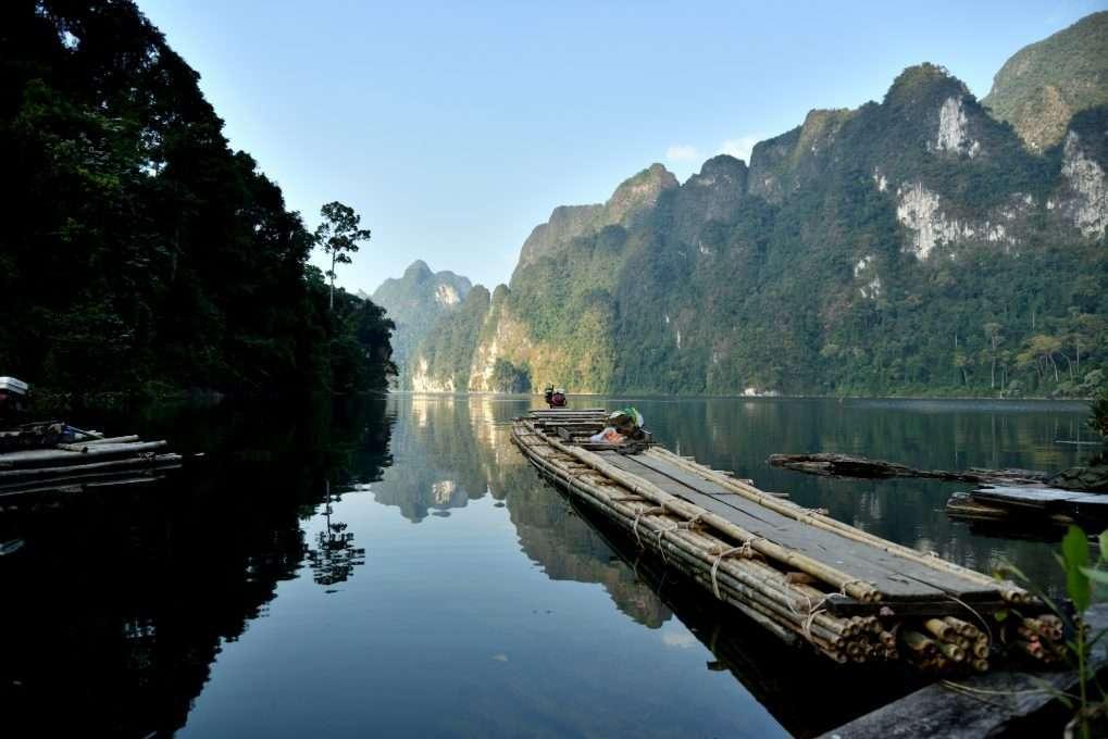 Bamboo raft on Cheow Lan Lake