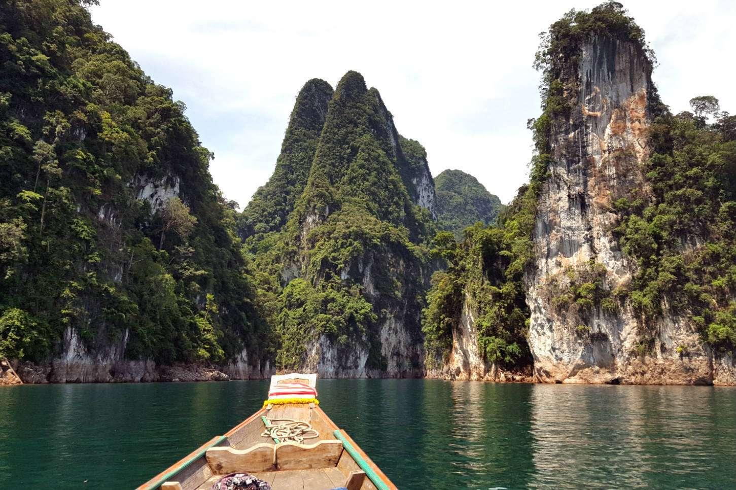 Limestone cliffs in Cheow Lan Lake