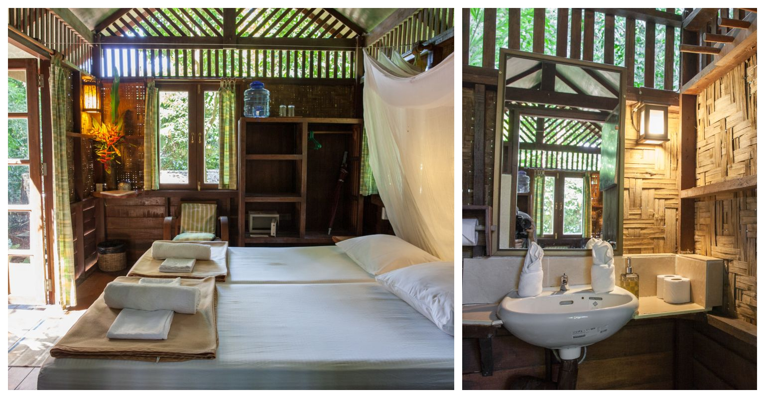 Boomhut met bed en wastafel in Our Jungle House, Khao Sok