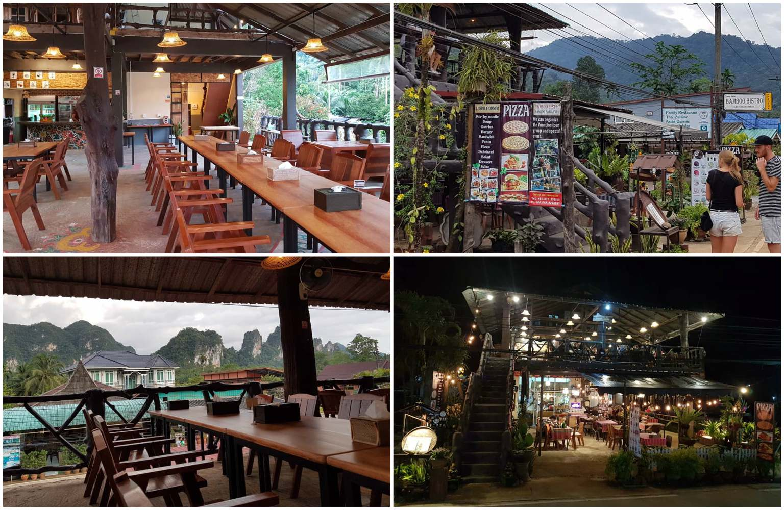 Collage of Bamboo Bistro in Khao Sok, Thailand The interior of Bamboo Bistro downstairs and upstairs, plus the view from above of the mountains of Khao Sok and a picture of the front jug of the restaurant itself.