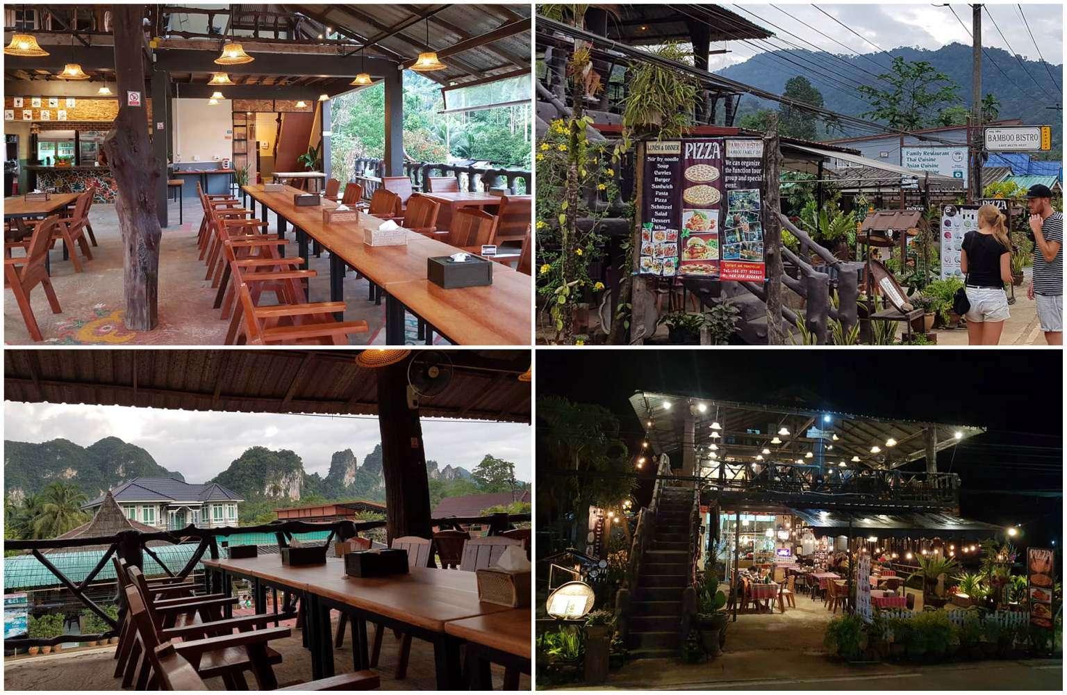 Collage van Bamboo Bistro in Khao Sok, Thailand.Het interieur van Bamboo Bistro beneden en boven, plus het uitzicht vanaf boven op de bergen van Khao Sok en een foto van de voorkan van het restaurant zelf