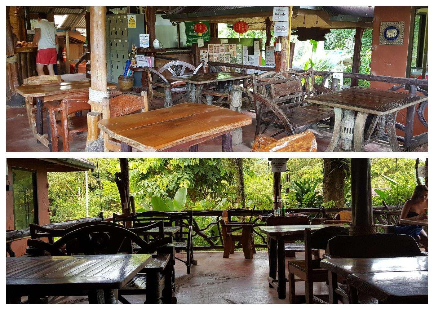 Collage van het Misty Restaurant gelegen in het Morning Mist Resort in Khao Sok, Thailand. Op de foto allemaal stoelen en tafels