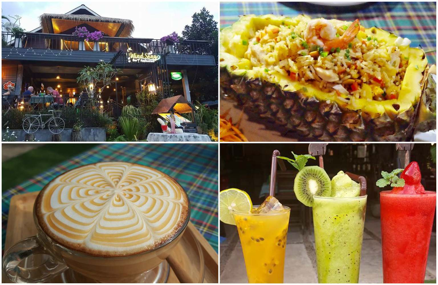Collage of Wind Song Restaurant in Khao Sok, Thailand. The view of the restaurant, a nicely decorated cup of cappuccino, fried rice in a pineapple and three fruit shakes.